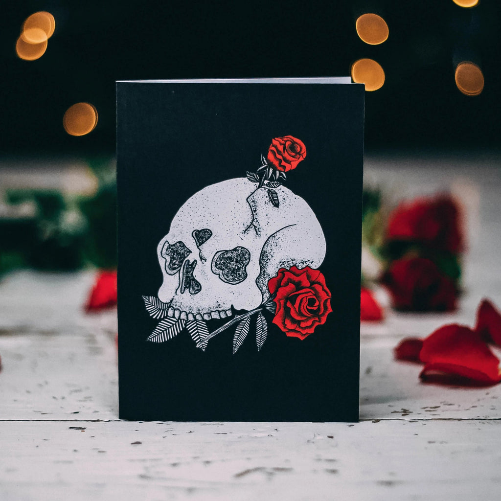 Skull with Roses Alternative Valentines Card