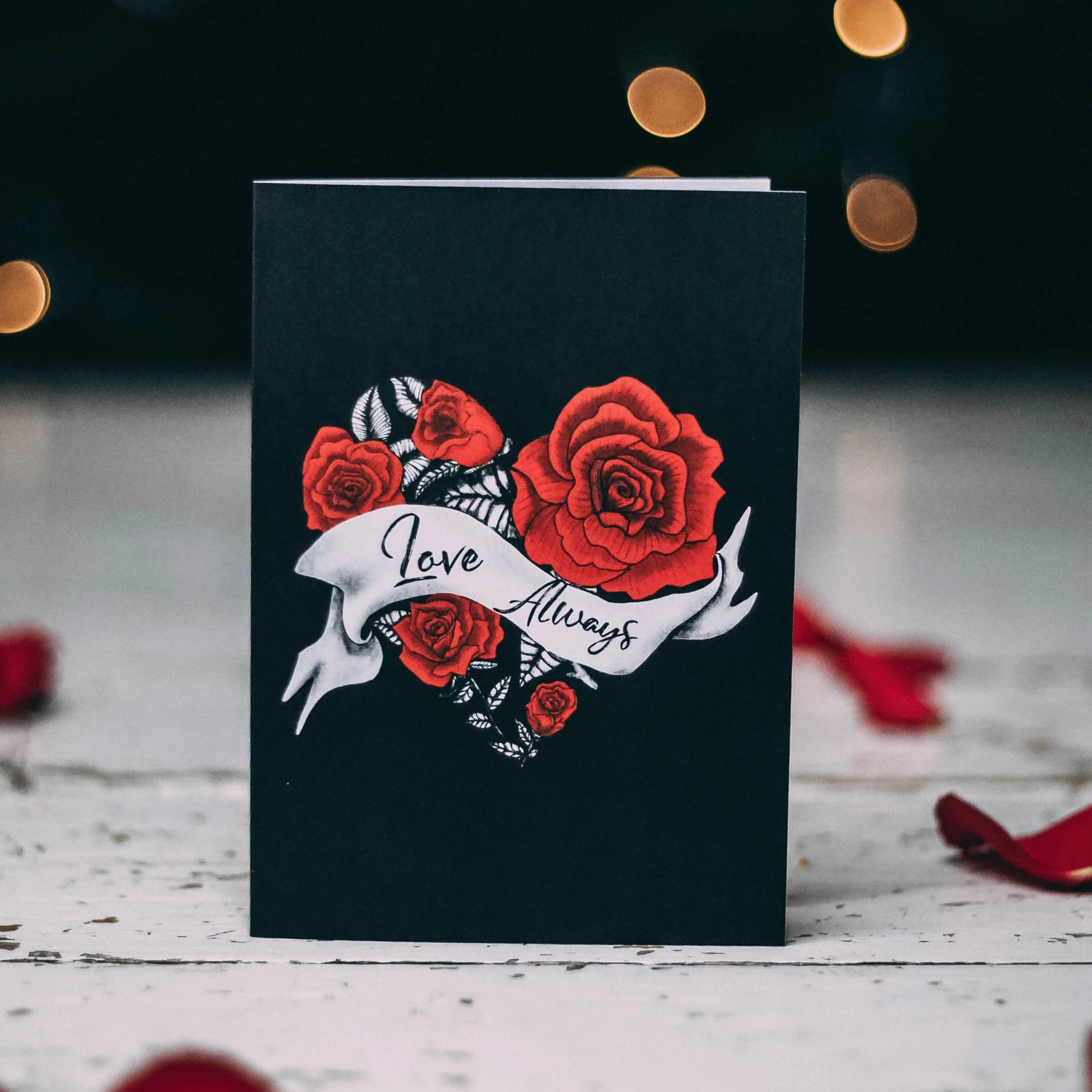Love Always Heart and Rose Alternative Valentines card