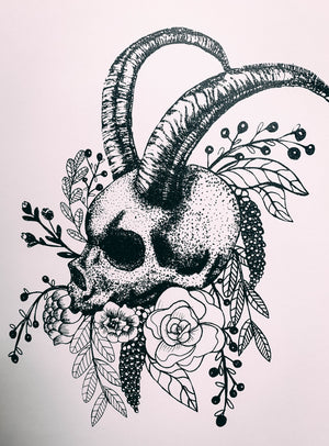 Skull With Horns - A4 Screen Print
