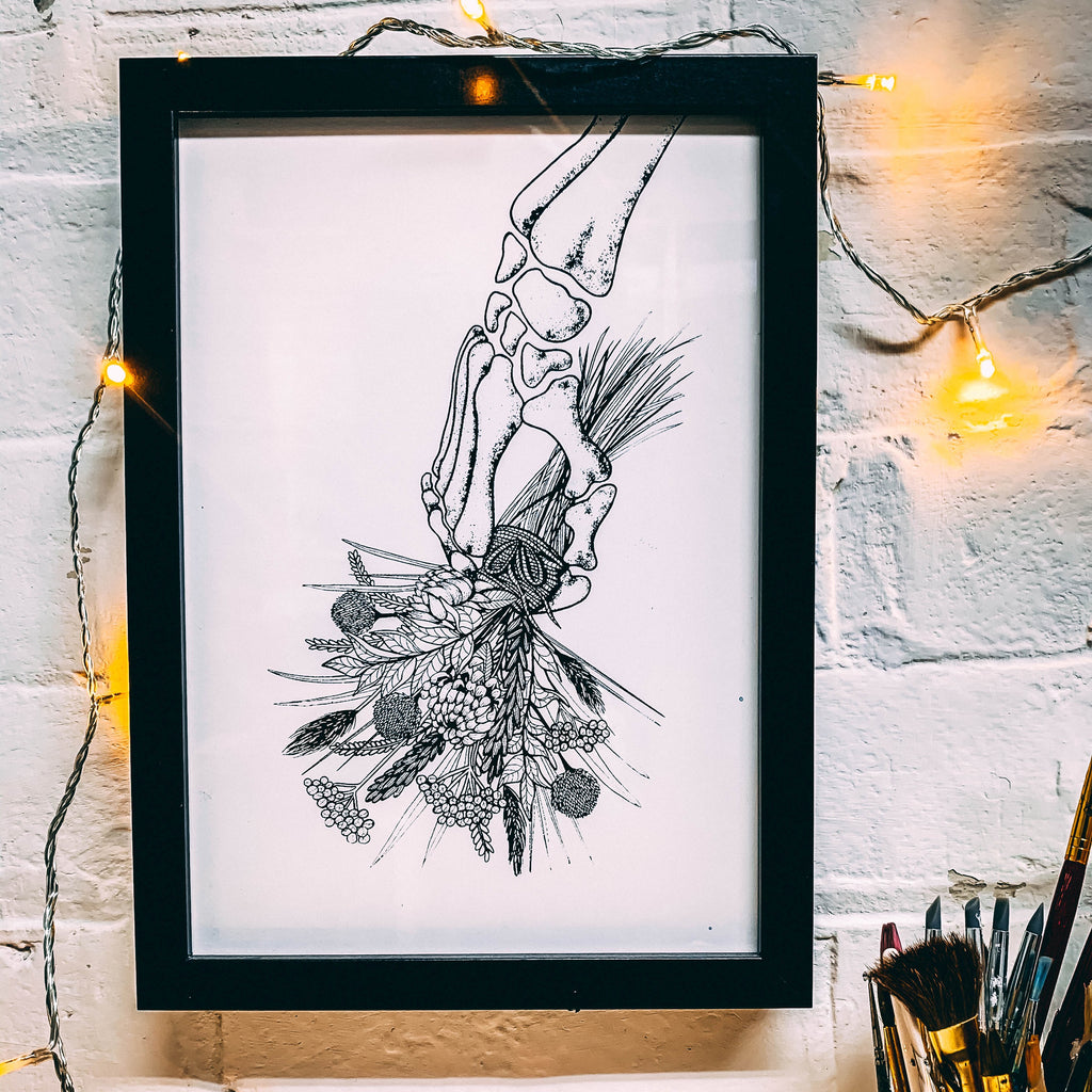 Skeleton With Flowers White - A4 Screen Print