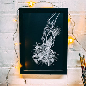 Skeleton With Flowers Black - A4 Screen Print
