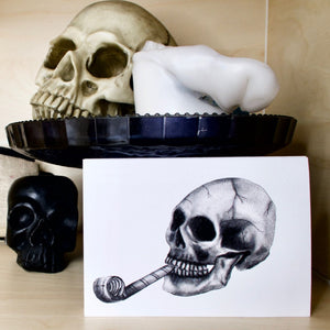 Original Skull with Party Blower - Gothic Birthday Card
