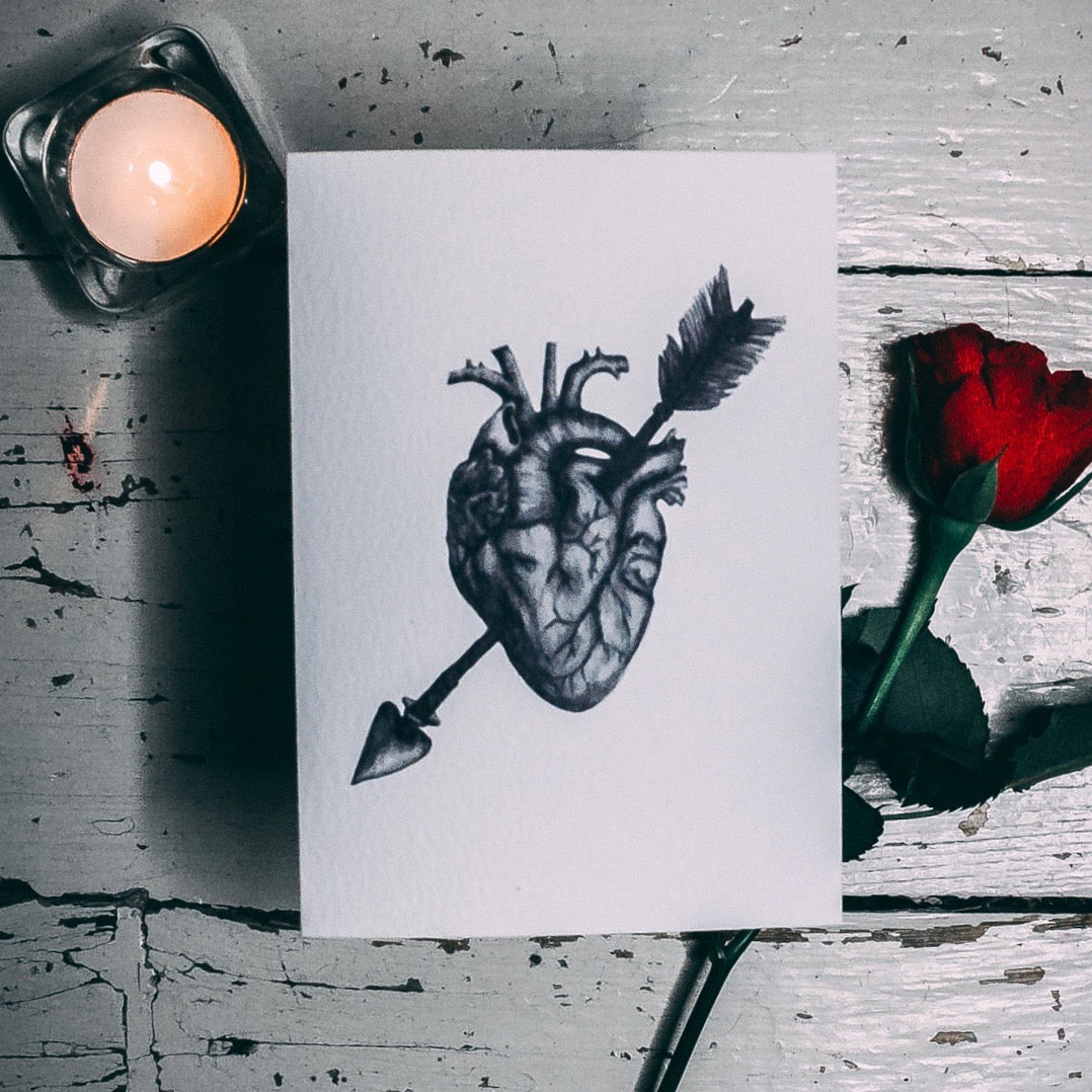 Anatomical Heart Alternative Valentines, Anniversary or Wedding Card