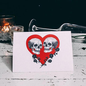 Skull Couple Red Heart Card