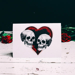 Skull Couple Black Heart Card