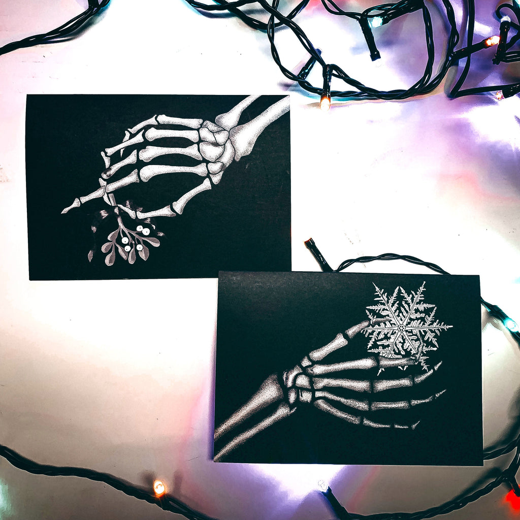 Set of 2 Black Skeleton Hands Gothic Christmas Cards