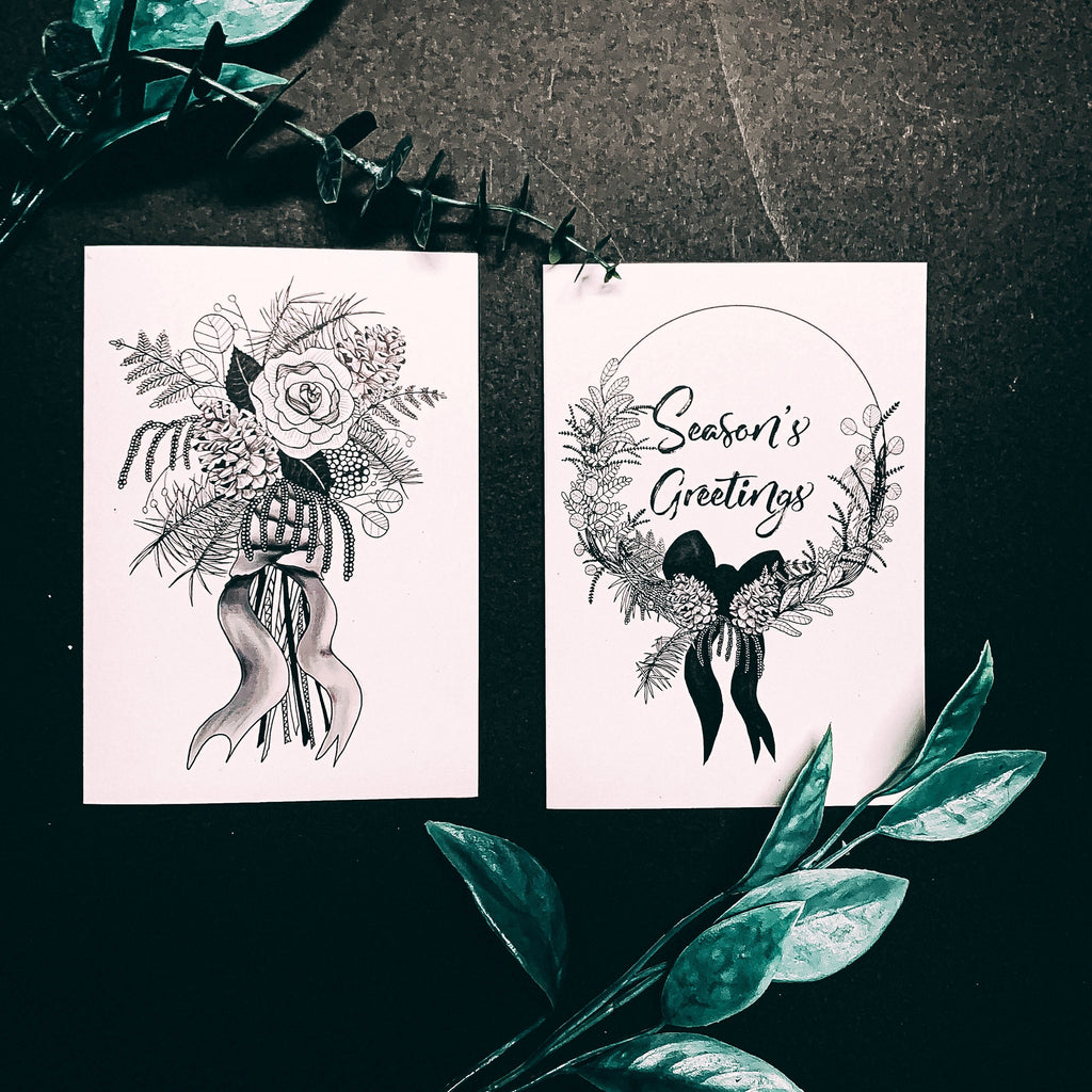 Set of 2 Botanical Christmas Cards