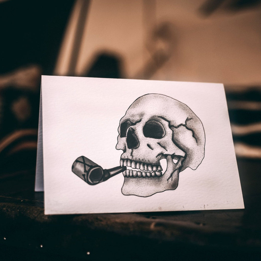 Skull with Party Horn - Textured Paper