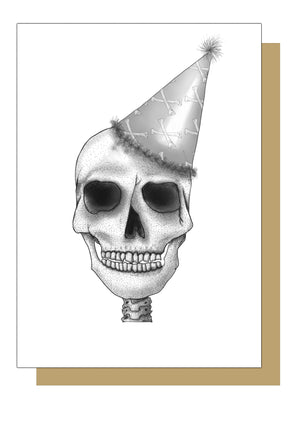 Funny Party Hat Skull Birthday Card
