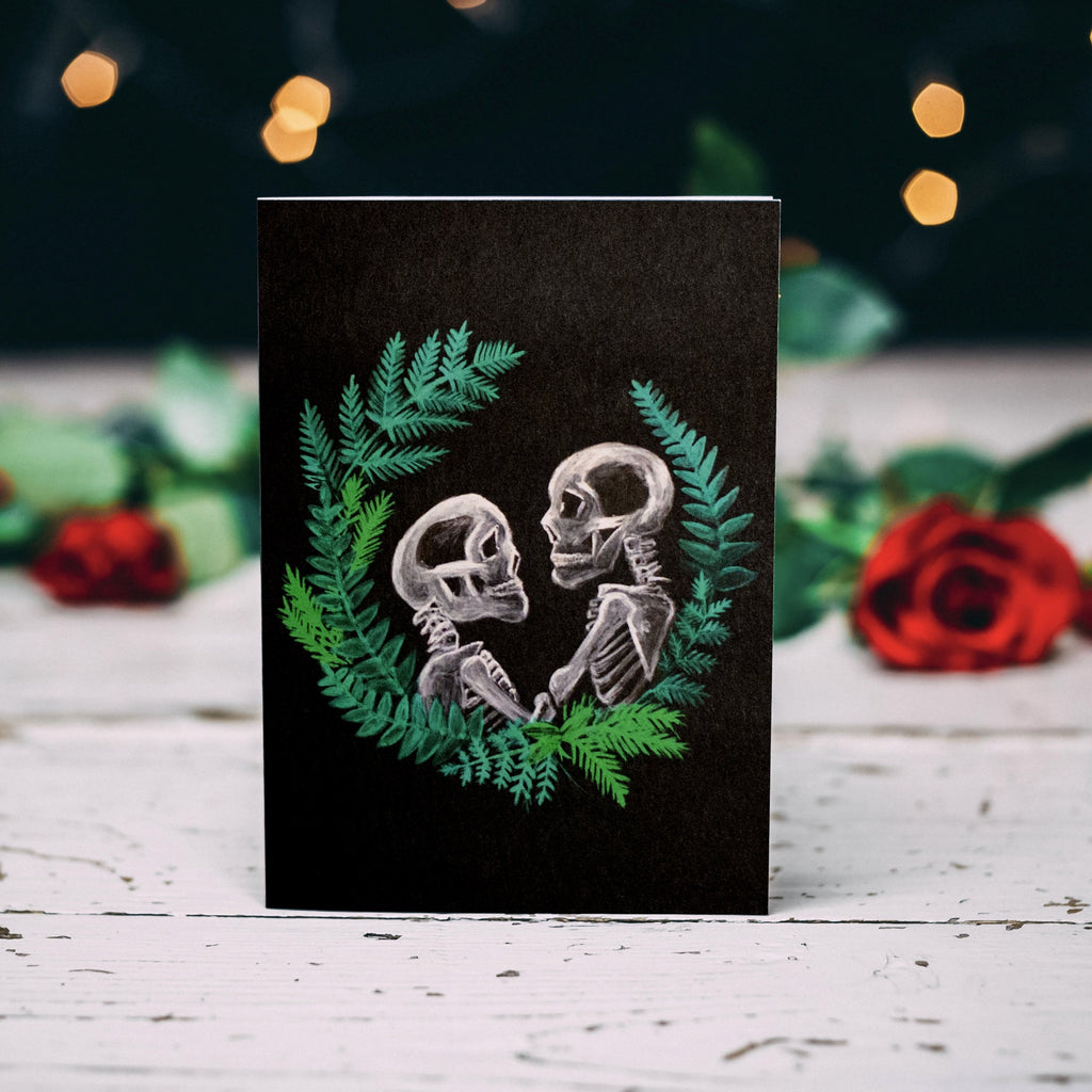 Greetings Card - Skull Couple with Wreath