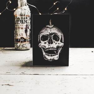 Black A6 Birthday Card with illustration of skull with candle on its head by wayward