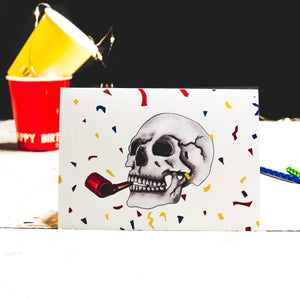 Colourful Confetti Skull Greetings Card by Emma Inks Studio