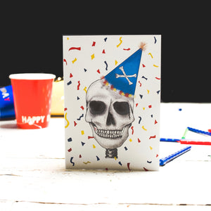 Colourful Birthday Card with Skull Drawing
