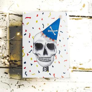 Colourful Greetings Card With Skull Art Emma Inks Studio