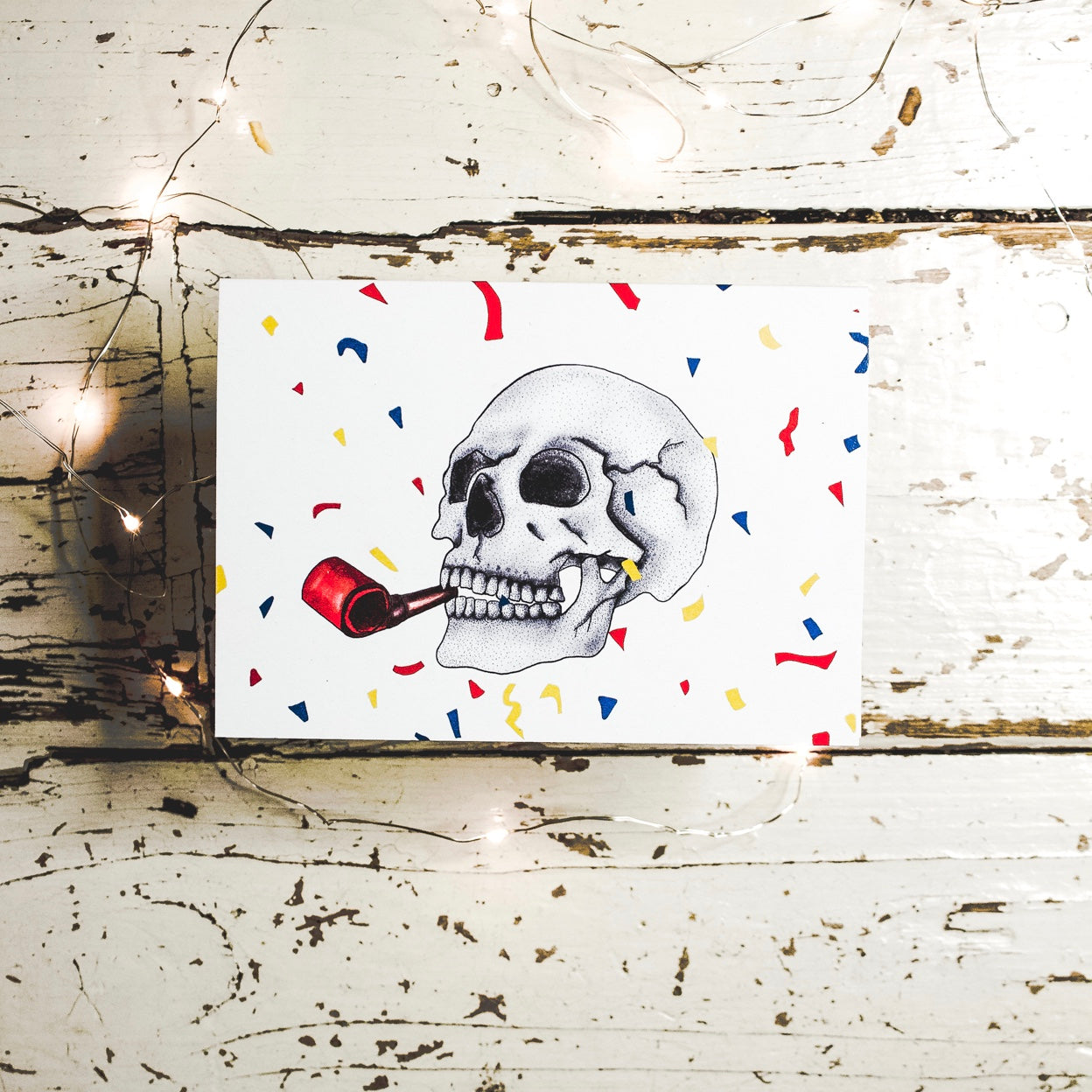 Gothic Birthday Card with Colourful Confetti and Skull Design