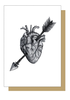 Grey Anatomical Heart, Valentines, Anniversary or Wedding Card