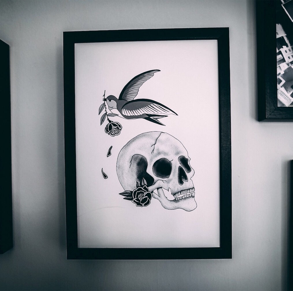 Skull With Tattoo Inspired Swallow and Rose Print