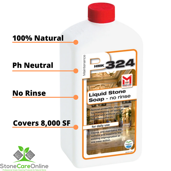 pH neutral liquid stone soap for maintaining natural stone counters, floors, showers and all stone surfaces. Diluted mix covers up to 8000 square feet per liter.