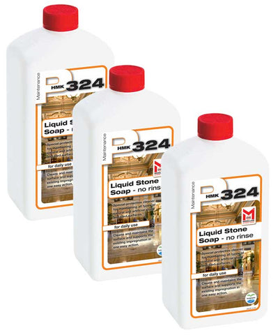 3-pack of 1-Liter Bottles of HMK P324 Liquid Stone Soap Maintenance Concentrate