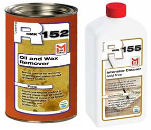 HMK stain removing poultice combo kit for removing stains from stone. HMK R152 Stain Removing Poultice and R155 Intensive Cleaner in this kit