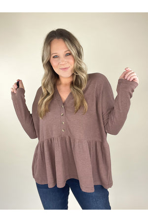 Fuller Thermal Babydoll Top (Taupe)