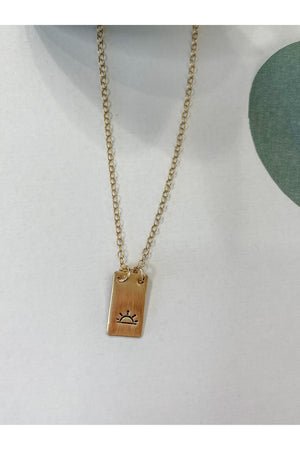 Gold Filled Tag Necklace (Sunset)