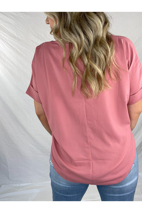 Simply Stevie Cross Front Tee (Rose)