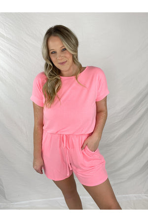 Simply Stevie Romper (Bright Pink)