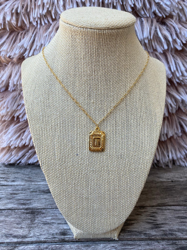 Box Initial Necklace