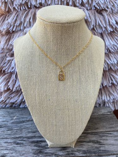 Rhinestone Initial Lock Necklace