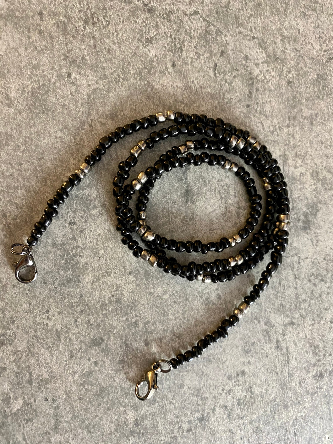 Black and Silver Beaded Mask Holder