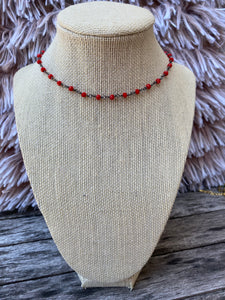 Red and Gunmetal Simple Choker
