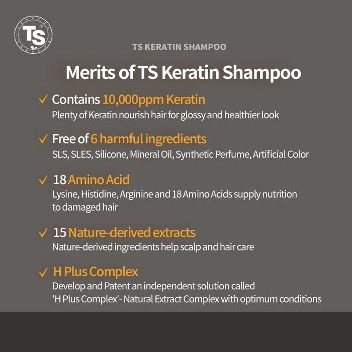 TS KERATIN SHAMPOO 500G FOR DAMAGED HAIR AND DRY SCALP