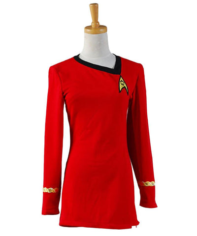 Star Trek TNG Kleid Uniform Cosplay Kostüm Karneval Fasching Party Rot Kleid Damenkleid