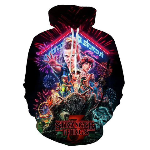 Stranger Things 3 Hoodie Pullover mit Kaputze Pulli Hooded Elf Scoops Sweatshirt