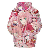 DARLING in the FRANXX Ichigo Hiro Zero Two Hoodie Pullover mit Kaputze Pulli Hooded Erwachsene