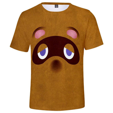Animal Crossing Tom Nook Druck T-shirt Tee Top Erwachsene Kurzarm Rundhals