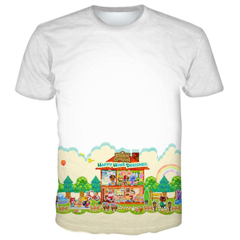 Animal Crossing Druck T-shirt Tee Top Erwachsene Weiß Tee
