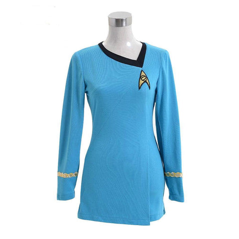 Star Trek TNG Kleid Uniform Cosplay Kostüm Karneval Fasching Party Blau Kleid Damenkleid