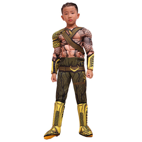 DC Justice League Superheld Aquaman Arthur Curry Cosplay Kostüm Jumpsuit für Kinder Junge