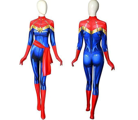 Avengers Ms Marvel Carol Danvers Superheldin Cosplay Kostüm Karnevel Damen Jumpsuit Mottoparty