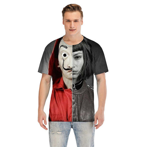 Money Heist The House of Paper Haus des Geldes T-shirt Sommer Top Tee Druck für Erwachsene