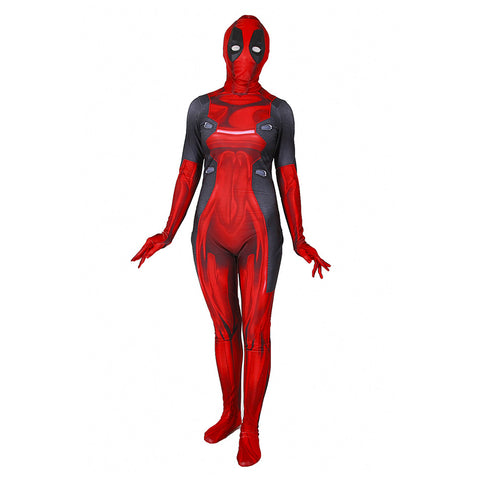 Deadpool Damen Jumpsuit Halloween Karneval Kostüm Mottoparty Themenparty für Erwachsene