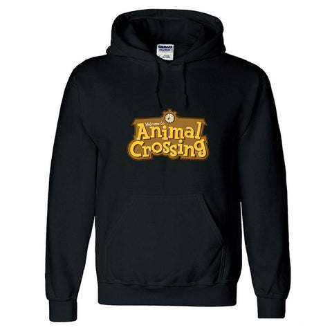 Animal Crossing Ewachsene Hoodie Pullover Schwarz Kartoon Hooded Sweatshirt Pulli Kaputzepullover