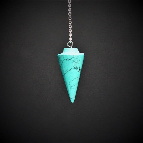 Turquoise Howlite Cone Pendulum - Heavenly Crystals Online