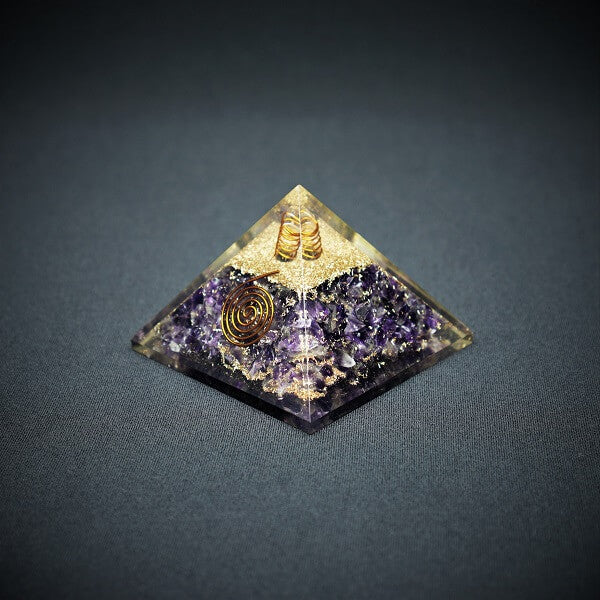 Amethyst & Clear Quartz Orgonite Pyramid - 226 grams - Heavenly Crystals Online