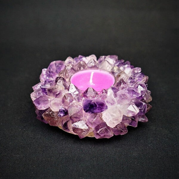 Amethyst Candle Holder includes tea light candle - heavenly-crystals-online