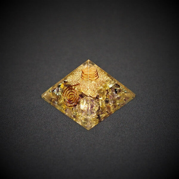 Citrine, Amethyst and Clear Quartz Orgonite Crystal Pyramid - 108 grams - Heavenly Crystals Online
