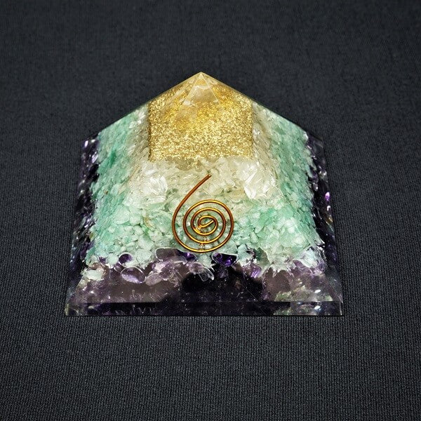Amethyst, Green Aventurine, Clear Quartz Orgonite Pyramid - 248 grams - Heavenly Crystals Online