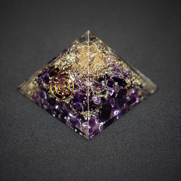 Amethyst & Clear Quartz Orgonite Pyramid - 97 grams